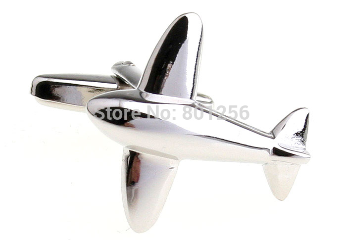 Promotion!! Boutons de manchette avion couleur argent mode conception - Bijoux fantaisie - Photo 1
