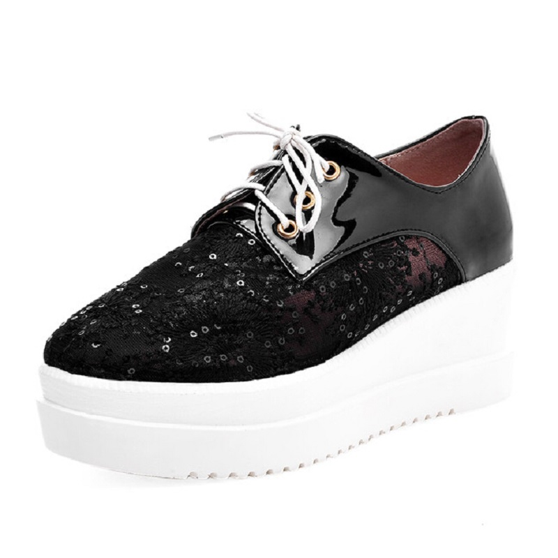 ФОТО Women Shoes 2017 New Patchwork Lace Up Women High Heels Fashion Mesh Breathable Casual Shoes Woman Platform Wedges Size 34-43