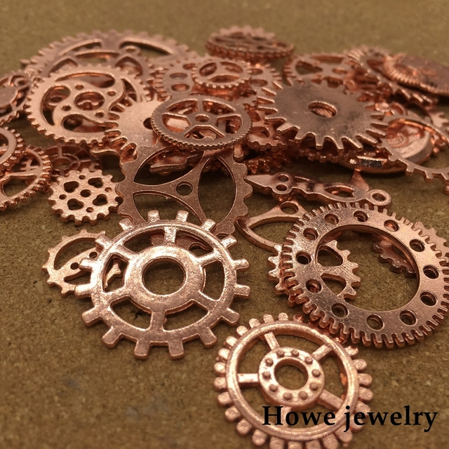 mixed 100g rose gold steampunk gears and cogs clock hands pendant