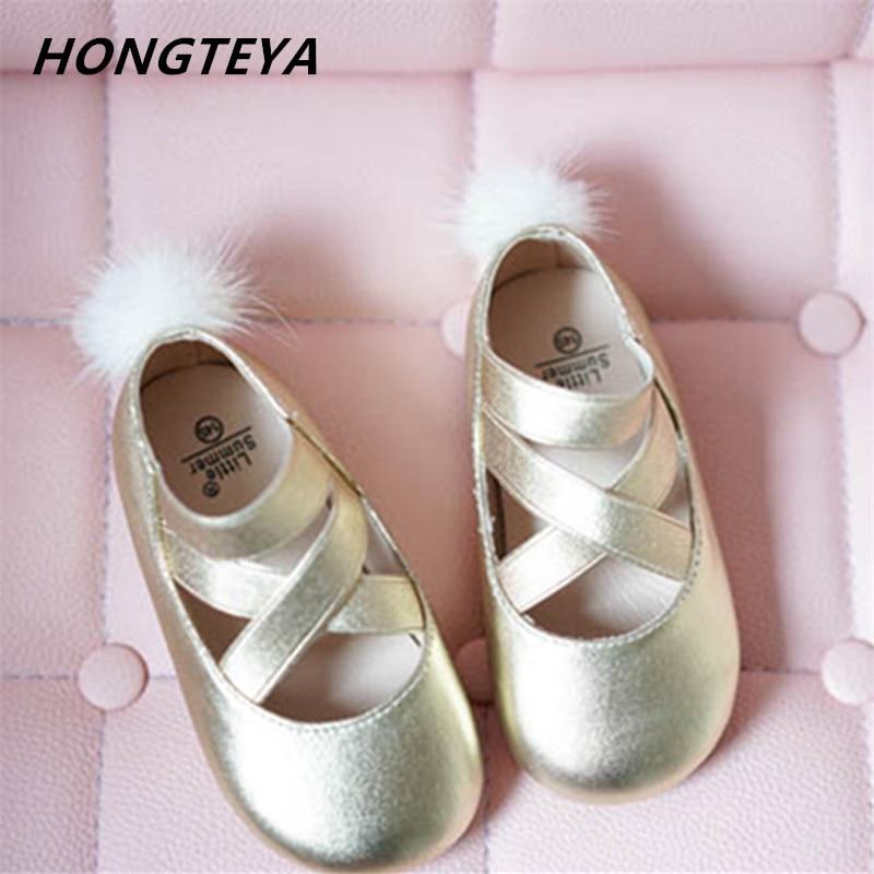2019 Fashion Girls Baby shoes dancing Princess sandals Genuine Leather kids toe shoe Mink velvet children ballet Girls sandals