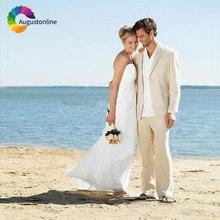 Casual Khaki Beige Linen Men Suits Beach Wedding Suit Pants 2Piece Slim Fit Best Man Blazers Jacket Latest Designs Prom Wear