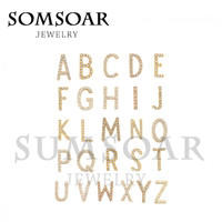 Somsoar Jewelry 26pcs Crystal Letter A-Z DIY Keep Keys for Leather Keepers wrappable Bracelet and Pendant Necklace for women