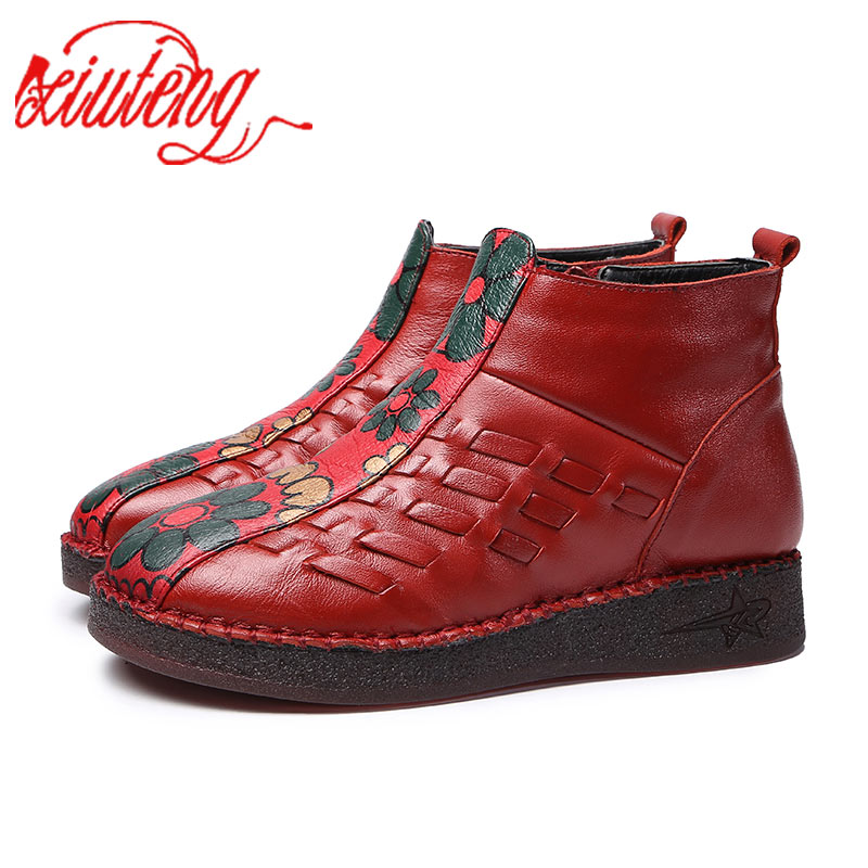 Xiuteng Fashion Genuine Leather Woven Snow Boots Women Top Quality Flat Shoes 2018 New Ankle shoes