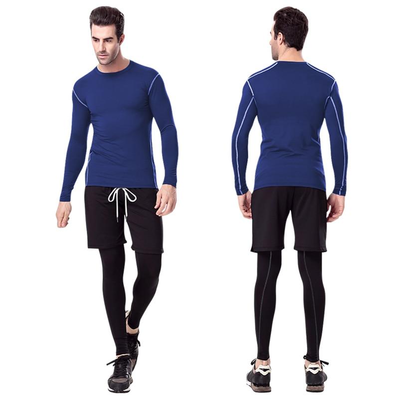 """""""Yuerlian"""" greitai sausi kompresiniai bėgimo marškinėliai įtempti futbolo megztiniai Sporto kostiumai Sporto salė Marškinėliai Kultūrizmas Vyriški ilgi marškiniai"""