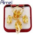 Almei Позолоченный Большой Желтый Кристалл Ювелирные Наборы для Женщин Дамы Свадебные Диаманта CZ Цирконий Ожерелье Серьги Кольца Подарки Y182