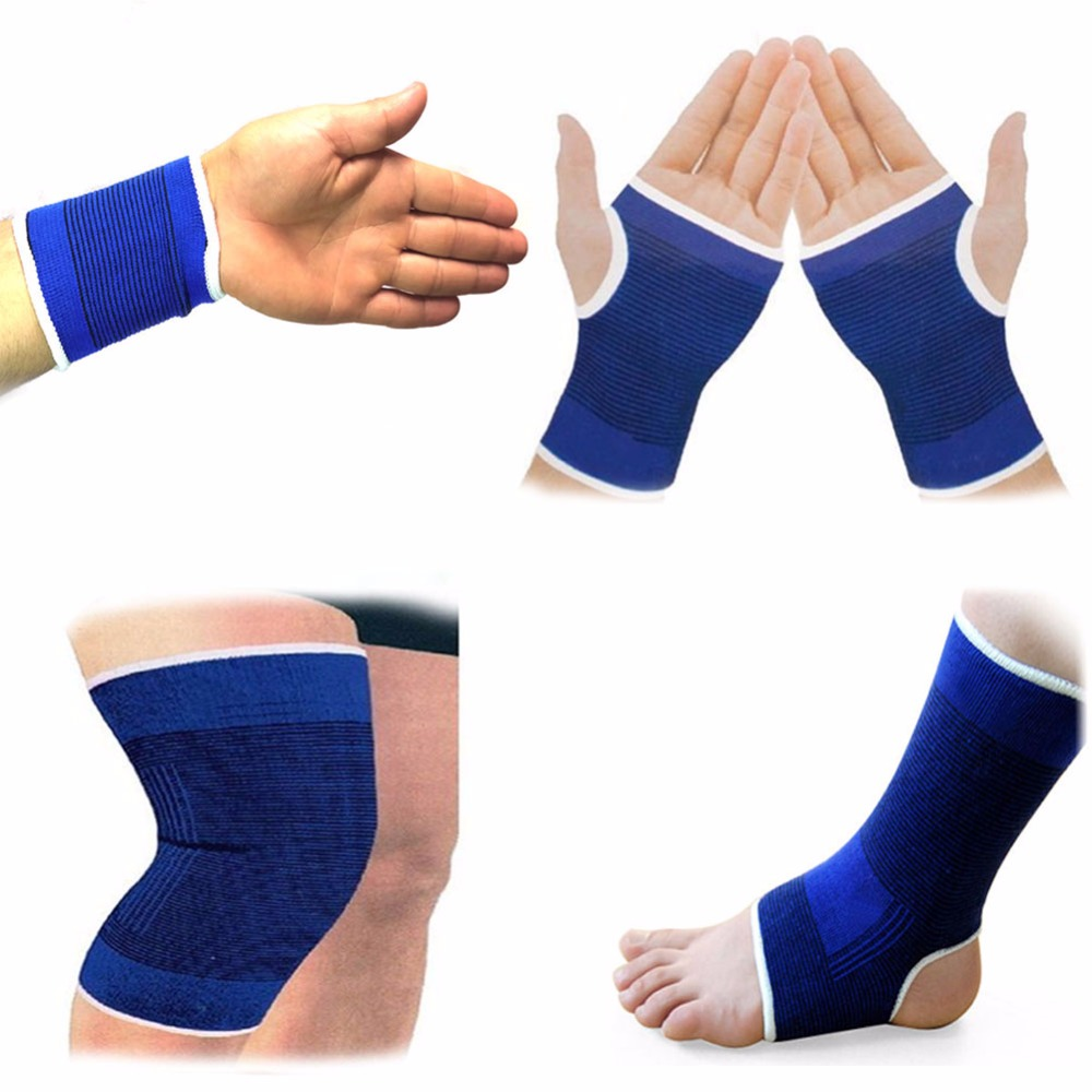 1Pair Elasticated Knee Blue Knee Pads Knee Support Brace Leg Arthritis Injury GYM Sleeve Elasticated Bandage Ankle Brace Support