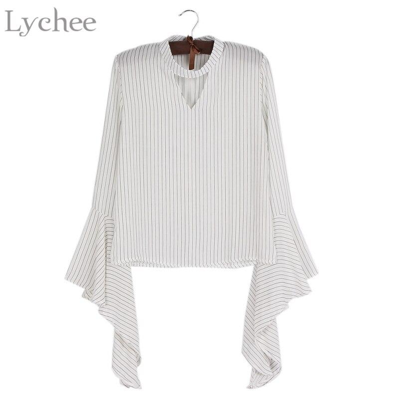 Lichi primavera otoño mujeres blusa cuello v flare manga de la raya casual camis