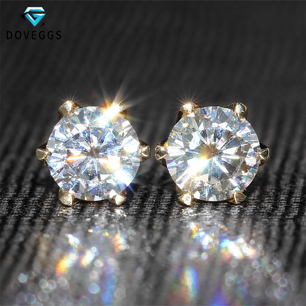 DovEggs 14 K 585 Kuning Emas 1.0ctw 5mm F Warna Lab Dibuat Moissanite Berlian Stud Earrings Untuk Wanita Brilliant Emas anting