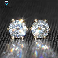 DovEggs 14K 585 Yellow Gold 1.0ctw 5mm F Color Lab Created Moissanite Diamond Stud Earrings For Women Brilliant Gold Earrings