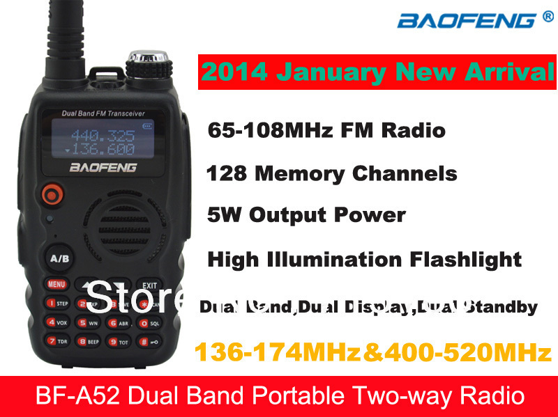 2014 NEW Baofeng BF-A52 VHF136-174MHz & UHF400-520MHz Dual Band 5W 128CH FM Portable Two-way Radio Baofeng A52 walkie talkie2014 NEW Baofeng BF-A52 VHF136-174MHz & UHF400-520MHz Dual Band 5W 128CH FM Portable Two-way Radio Baofeng A52 walkie talkie