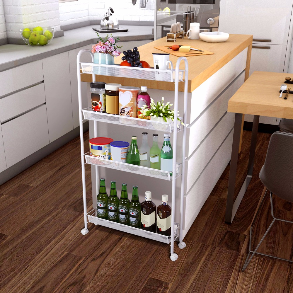 Lifewit Kitchen And Bathroom 4 Tier Gap Storage Trolley Rolling