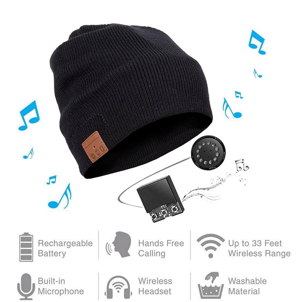 Wireless Bluetooth Beanie Knitted Plus Velvet Winter Running Hat Headset Mic Headphone Music Headbands Sport Smart Cap