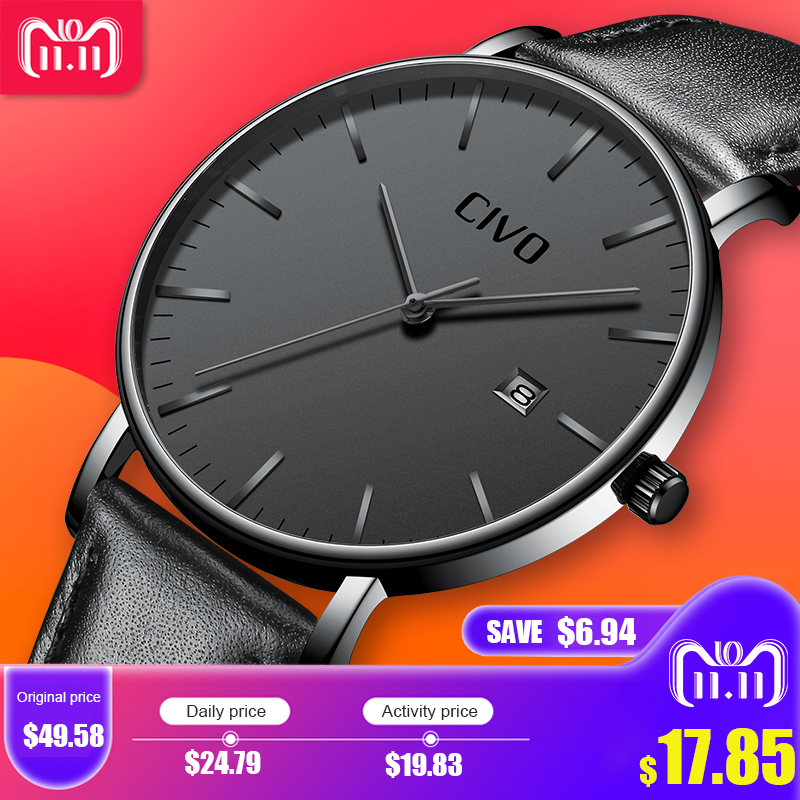 Fashion Casual Men Watch CIVO Ultra Thin Minimalist Waterproof Date Quartz Wrist Watch For Men Black Genuine Leather Watch Clock цена и фото