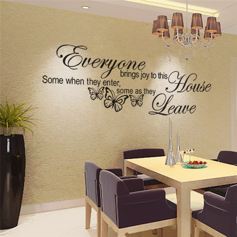 butterfly pattern everyone brings joy to this home quotes vinyl wall