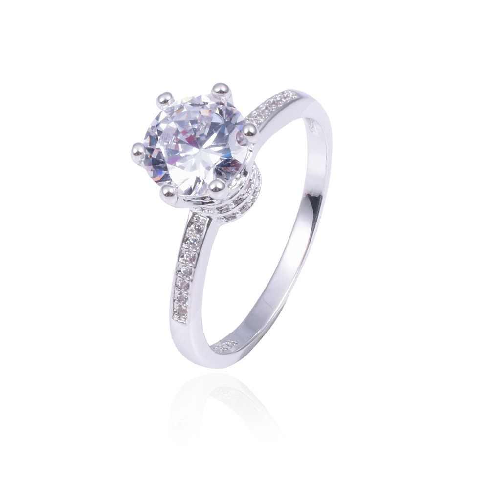 ¡Promoción! 6 $ anillos de boda de 100% Plata de Ley 925 sólido joyería de corona para mujeres anillo de compromiso de diamantes simulados de 1.2ct