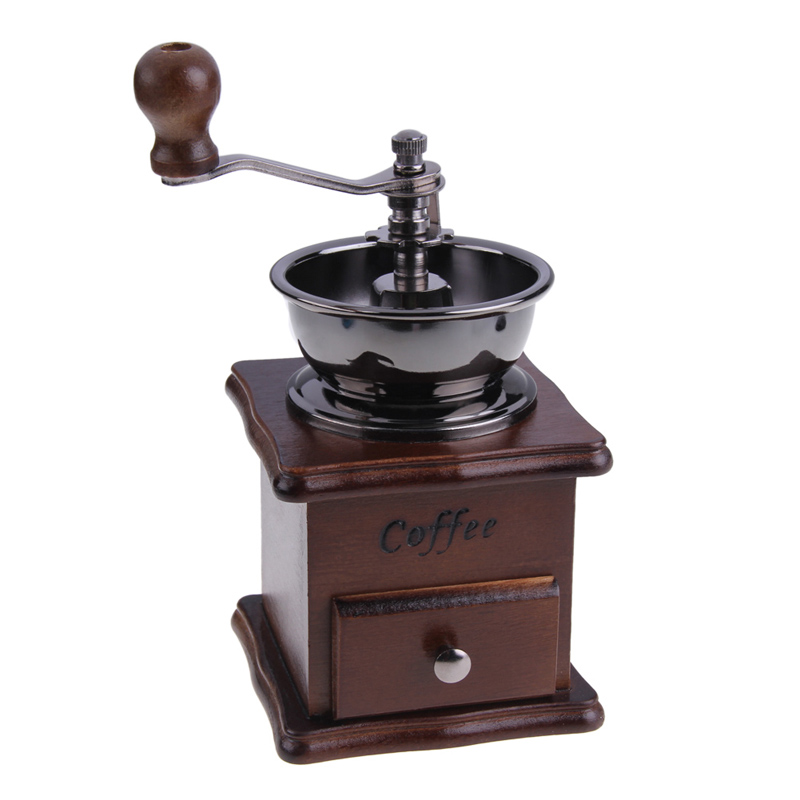 Hot Sale 1PCS Retro design Mini Manual Coffee Mill Wood Stand Bowl Antique Hand Coffee Bean Grinder As a Gift