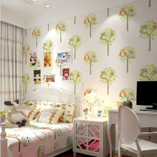 Cartoon Owl papel de parede infantil Wallpaper for Kids Room Mural Child  para sala boys bedroom. Compare Prices on Wallpapers for Bedroom with Owl  Online Shopping