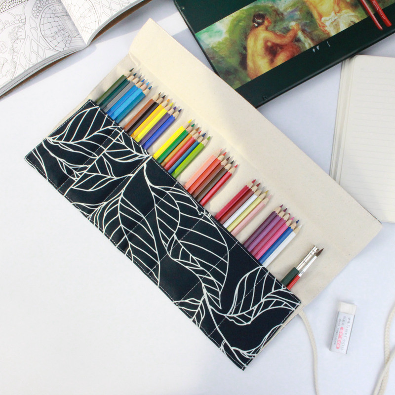 Promotional large capacity 36/48/72 holes colored pencil bag pencil storage basket Canvas Wrap Roll Up Pencil Pen Bag striped wrap pencil bag