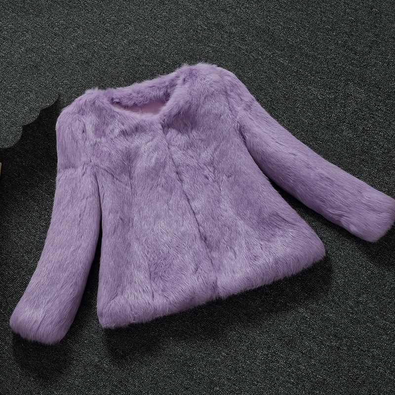 New arrival autumn and winter women's whole skin natural rabbit fur coats women solid color slim coat outerwear g119200