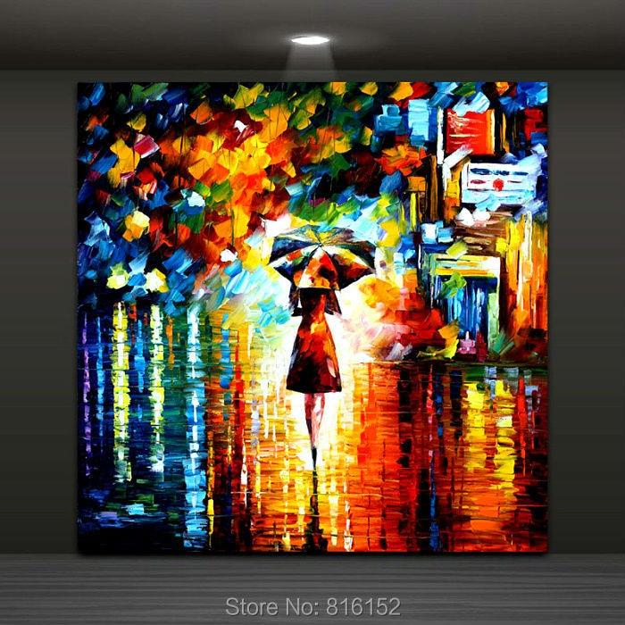Yağışdakı çətirli qız Müasir Abstrakt Rəsm Palitrası - Ev dekoru - Fotoqrafiya 3