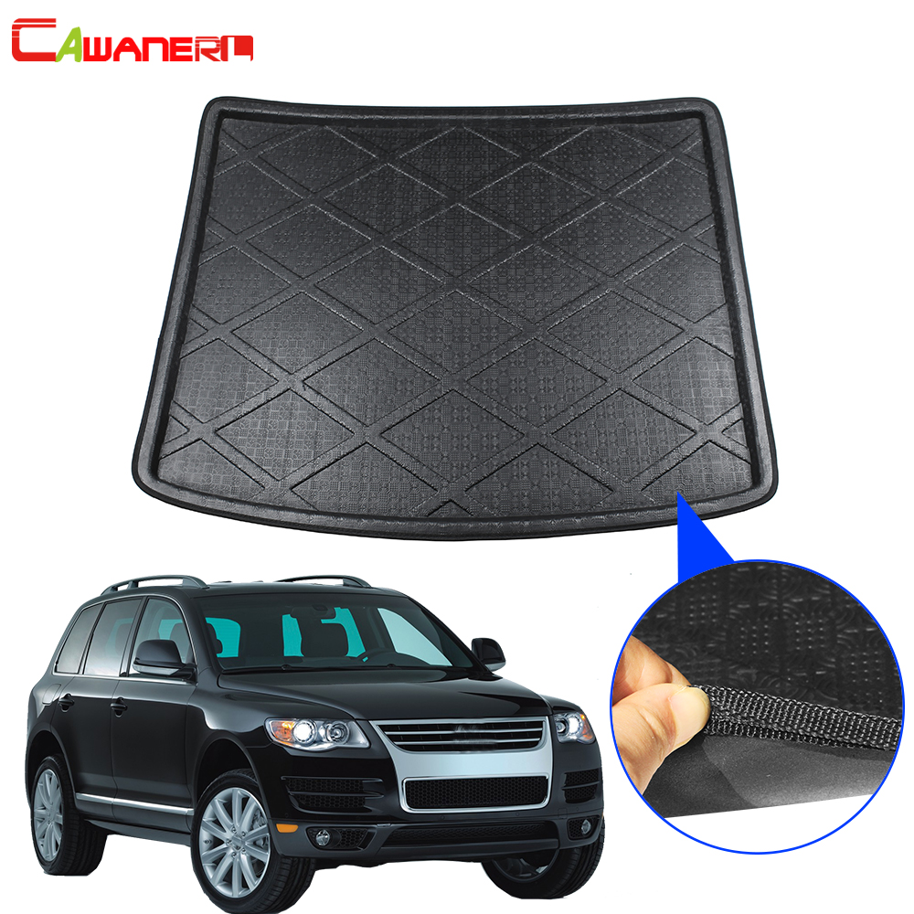 Cawanerl Car Floor Trunk Mat Boot Tray Liner Tail Cargo Carpet Luggage Mud Pad Styling For Volkswagen Touareg 2004-2010
