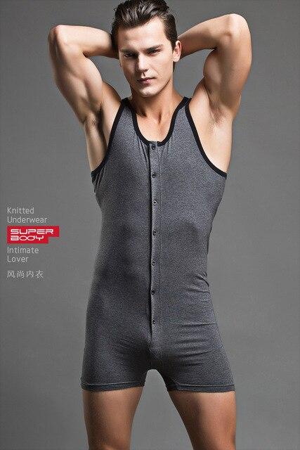 Men Sexy Bodysuit Penis Pouch Man Body Suits Brand Superbody Sexy Man  Bodywear Bodybuilding Cotton Sport 15c84477c