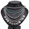 Fashion Ethnic Tribal Boho Turquoise Statement Coin Necklace Gypsy Multi-layer Jewelry #85271