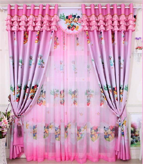 Home window decoration cartoon Children\'s curtains Pink Mickey blackout  curtain Girls bedroom curtains for window