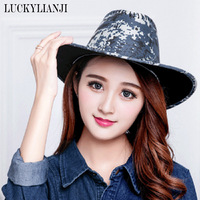 LUCKYLIANJI Fashion Men Women Camouflage Suede Cowboy Hat Casual Travel Cap with Adjustable Strap 58cm