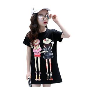 Image 5 - Children Clothing T Shirt Girls Summer 2019 Toddler Girl Shirts Cute Cotton Clothes for Big Kids Teenage Cartoon Long Tee Coats