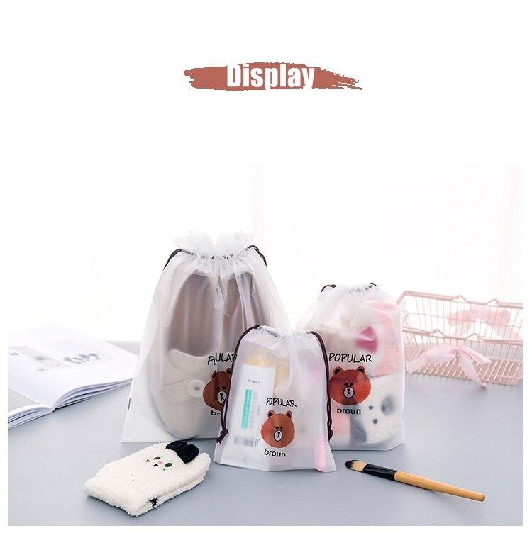 3pcs Bear Transparent Cosmetic Bag Travel Makeup Case Women Make Up Bath Organizer Storage Pouch Toiletry Wash Beaut Kit 19