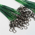 100 pcs Fishing Trace Lures Leader Steel Wire Spinner 16/18/22/24/28cm Green Nylon Coated C3 trace lures wire spinner steel wire spinner -