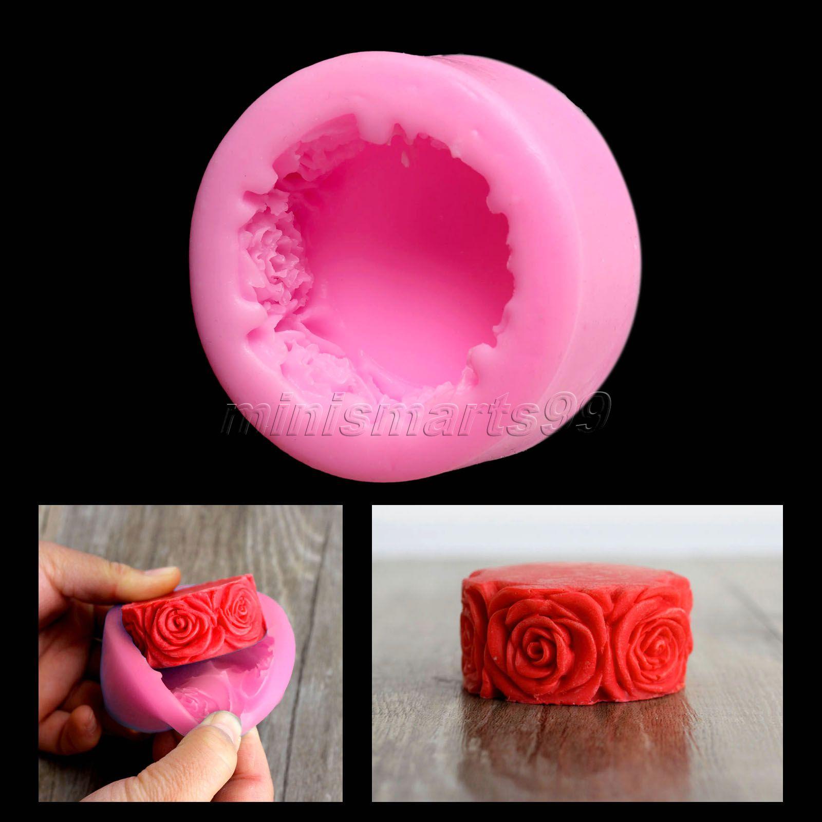 Nicole Rose Flowers Round Silicone Mögelformar för tvål DIY Hantverk Mögelstearin Stampi In Silicone Cake Tools