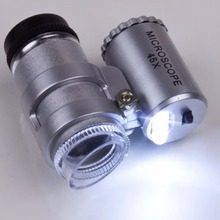 Silver Portable 45X 2 LED Pocket Mini Microscope Magnifier Jeweler Loupes Glass Lens New Brand