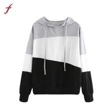 FEITONG New Fashion Sweatshirt Womens Long Sleeve Patchwork Hoodie Jumper Pullover Casual High Quality Hoody sweatshirt Female