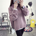 woman sweater 2016 loose short sweaters sleeve pullover Polo neck thick Tops