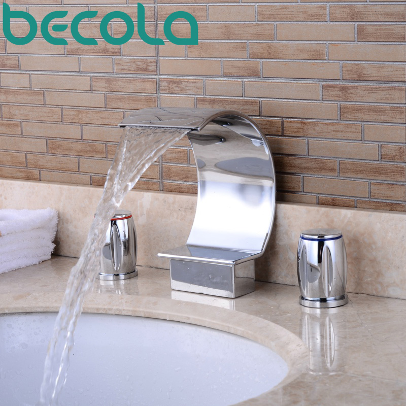 цена на becola Waterfall Basin Faucet Chrome Brass Dual Handle Bathroom Sink Tap Deck Mounted Bathtub Faucet S-208M