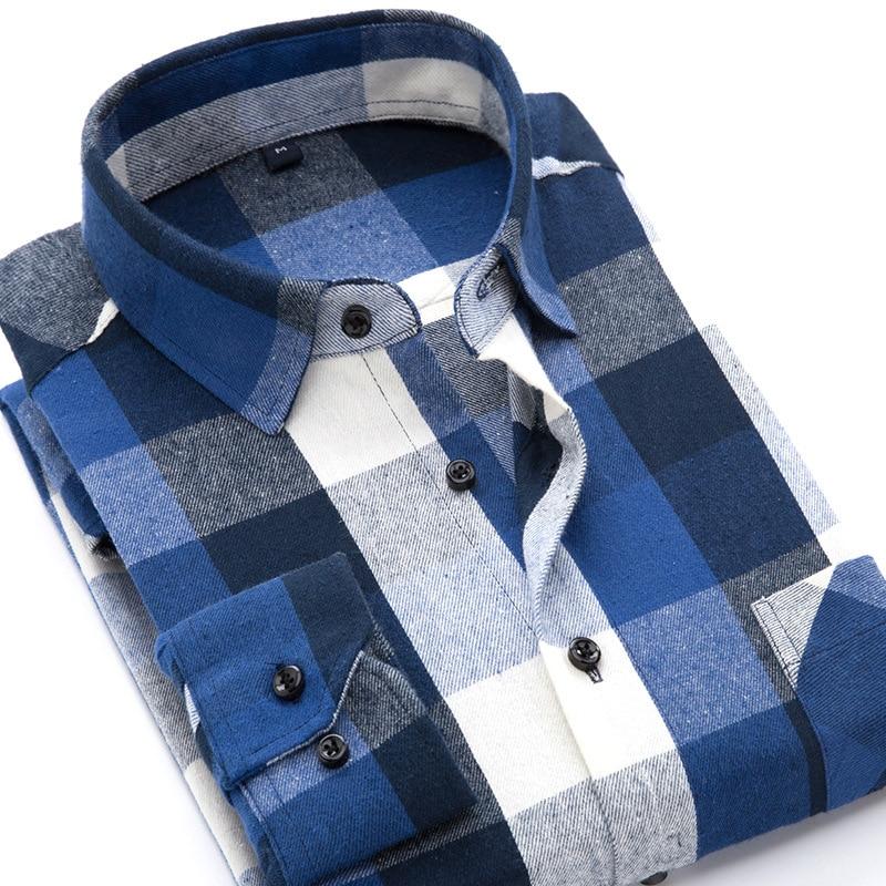 2018 Neueste Design Plaid Flanell Männer Shirts Langarm Hochwertiger 100% Baumwolle Marke Stil Business Men Casual Shirts