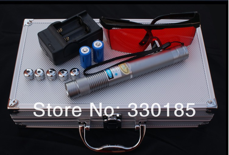 Military 300000m 5in1 450nm Strong blue laser pointer burn match candle lit cigarette wicked lazer torch+glasses+gift box strong power military 450nm 100000mw 100w focusable blue laser pointer sos burning match candle lit cigarette wicked lazer torch
