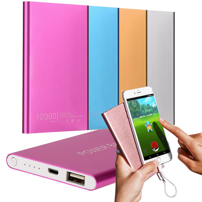 Ultra-thin Charger Power Bank 12000MAH Portable USB Charging Powerbank External Battery Chargers For iPhone Mobile phones