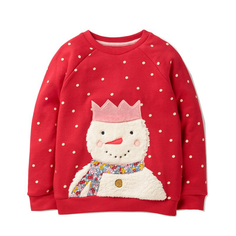 Christmas-Sweatshirts Applique Girls Children Blouse Baby Red with Snowman Cute for Polka-Dot