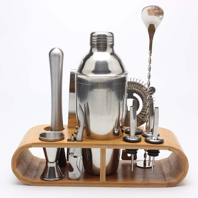 Ensemble d'outils de barre de 10 pièces avec support en bambou élégant Kit de barman à la maison et ensemble de Shaker de Cocktail pour une expérience de mélange de boissons impressionnante
