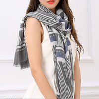 Charming Luxury Women Striped 100 Cotton Scarves Korean Soft Long Shawl 180 90Cm Ladies Beauty Wraps