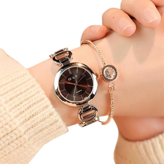 Gold Bracelet Women Dress Wristwatches Women Quartz Analog Wrist Small Dial Deli