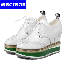 WRCIBOR 2017 Women's Pumps Genuine leather Round toe Platform High heels Lace up Casual wedges Increased Internal Shoes Women