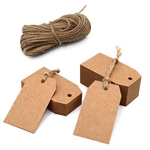 100pcs Brown Kraft Paper Tags With Hole For Wedding Or Party Decoration Gift Tags And Packaging Hang Tags Is Customized Labels