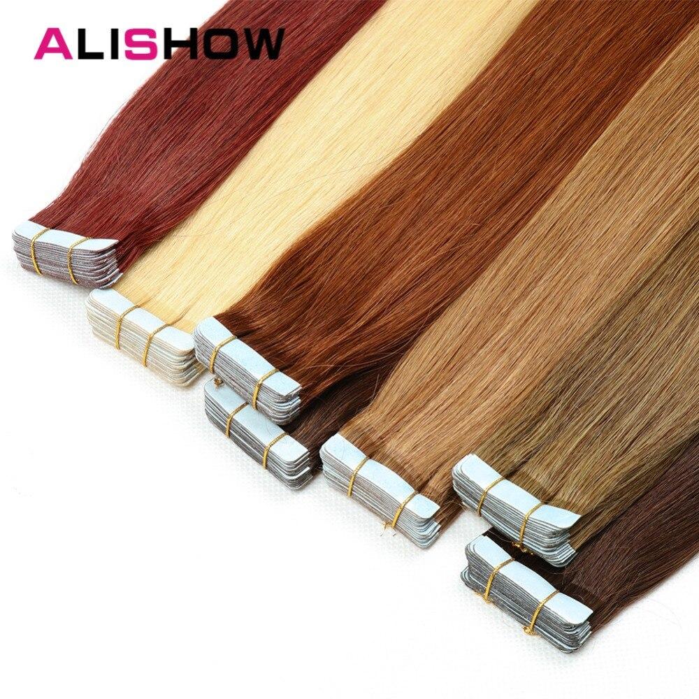 Alishow Bande Dans Remy Extensions de Cheveux Humains Double Drawn Remy Cheveux Raides Invisible Peau Trame PU Bande Sur Cheveux Extensions
