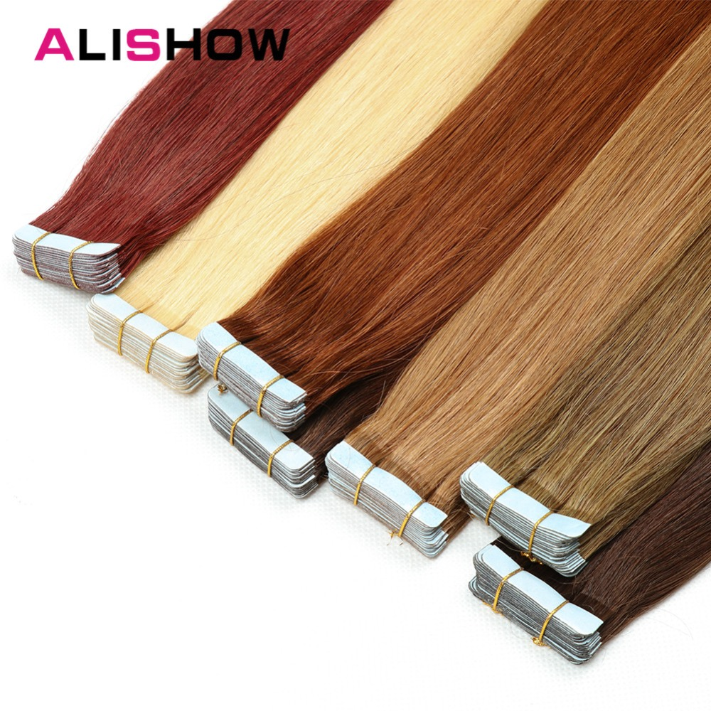 Alishow Tape In Remy Human Hair Extensions Double Drawn Remy Hair Straight Invisible Skin Weft PU Tape On Hair Extensions ...
