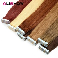 Alishow Tape In Remy Human Hair Extensions Double Drawn Remy Hair Straight Invisible Skin Weft PU Tape On Hair Extensions