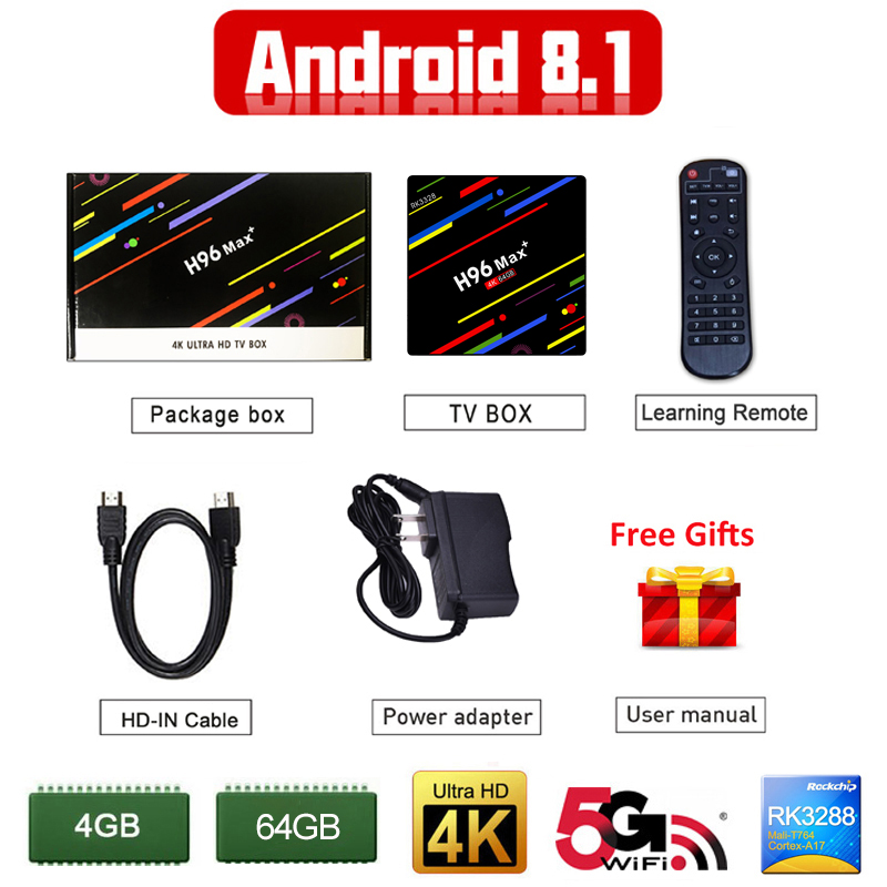 Android 8.1 TV box Rockchip RK3328 Quad-core 4GB RAM 64 ROM Suppot H.265 VP9 HDR10 4K 5G WiFi Set-Top Box H96 MAX + Media Player